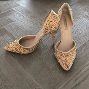 Zara Nude Heels with Gold Spikes and Crystals